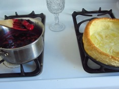 Batter will rise above sides of your skillet - cut into slices and top with powdered sugar, whipped cream and compote.